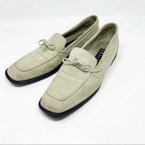 Amalfi Buckskin Colored Leather Tie Front Loafer